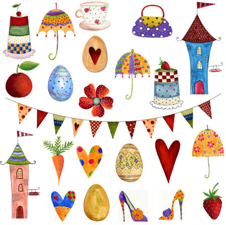 Artworks  Set of decorative elements Stock Photo