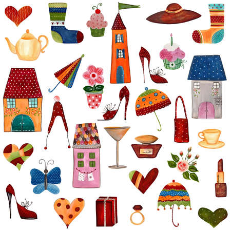 draw animal: Artworks  Set of decorative elements Stock Photo
