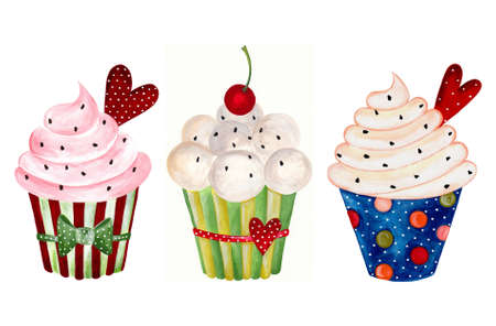Set of cupcake  Watercolors on paper Reklamní fotografie