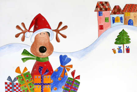 country christmas: Christmas card  Reindeer with gifts