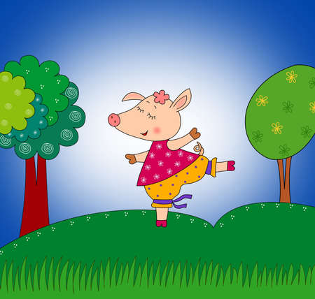 fairytale character: Happy pig