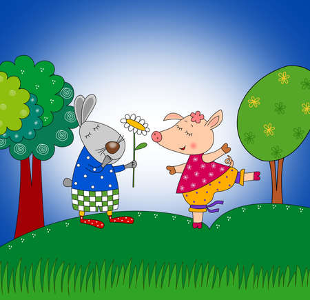 Rabbit and pig  Cartoon characters  photo