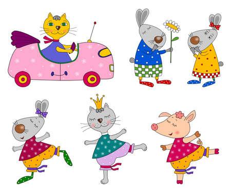 Set of animals  Cartoon characters photo