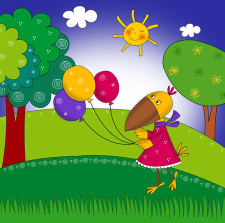 Little crow with balloons  Cartoon character photo