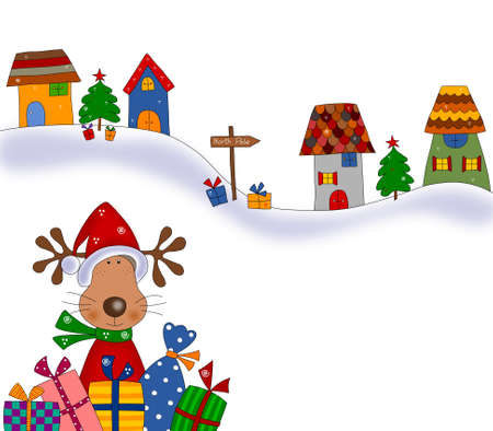 Reindeer with gift wraps  Christmas illustration