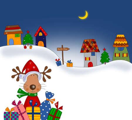 polo: Reno con regalo de Navidad envuelve ilustración