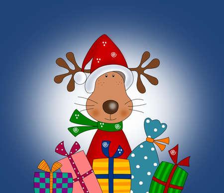 renos de navidad: Reno con regalo de Navidad envuelve ilustración