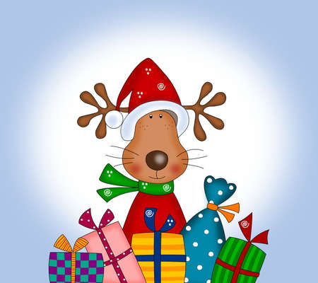 Reindeer with gift wraps photo