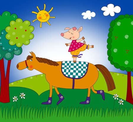 fairytale character: Pig and horse  Cartoon characters
