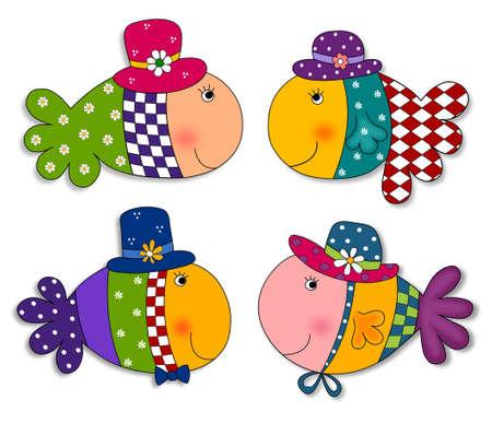 colorful fish: Fish set. Cartoon characters.