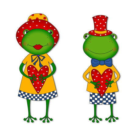 frog in love: Couple of frogs. Cartoon characters Stock Photo