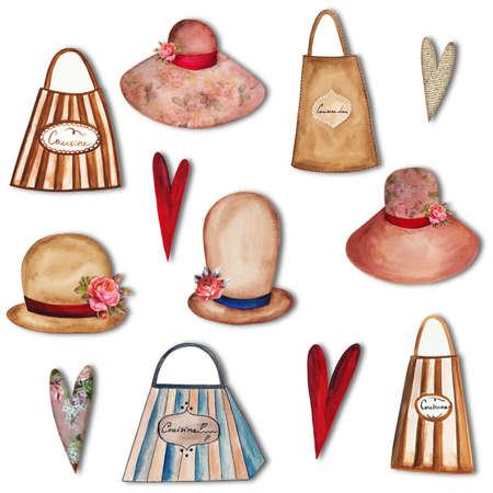 bowler hats: Set of decortive elements Stock Photo
