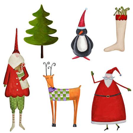 Set of decorative christmas elements Stock Photo