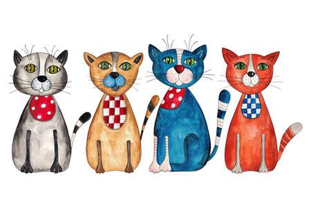 Kediler. Kağıt üzerine suluboya Stock Photo