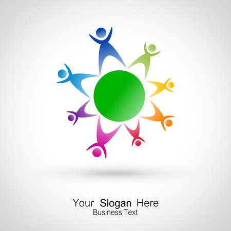 simbol: People on planet   Stock Photo