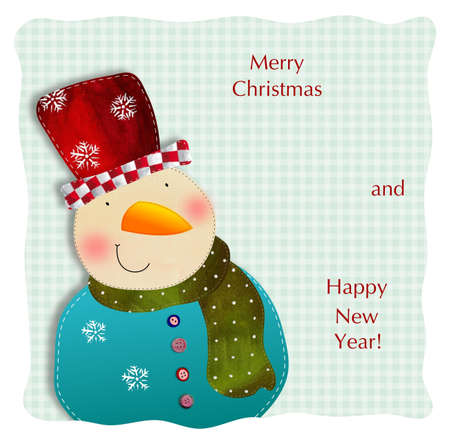 Snowman. Christmas card Stock Photo - 17995427