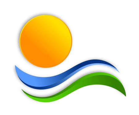 dauerhaft: Sun-Logo-Design Lizenzfreie Bilder