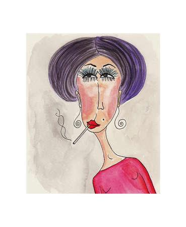 mujer fea: Retrato de mujer Acuarela sobre papel