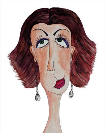 mujer fea: Mujeres s Acuarelas retrato en papel