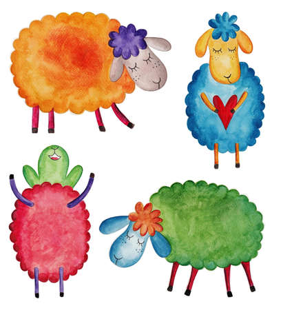 cartoon sheep: Set of cartoon sheep