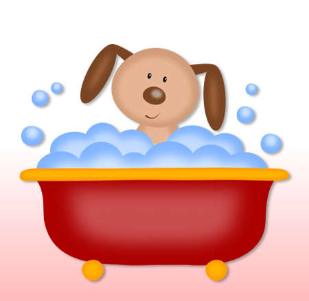 bath time: puppy makes bath time