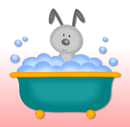 bath time: bunny makes bath time Stock Photo