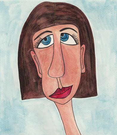 mujer fea: avatar acuarelas sobre papel Foto de archivo