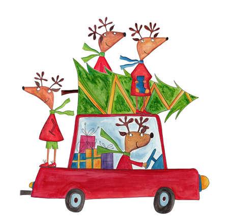 Christmas illustration  watercolors on paper Reklamní fotografie