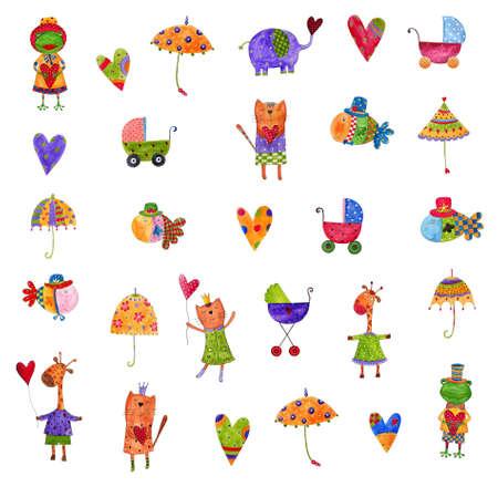 rana caricatura: conjunto de elementos decorativos
