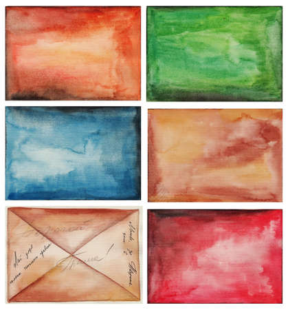 set of abstract backgrounds, watercolors on paper