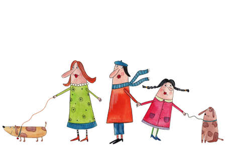 basset: Big family  Watercolors on paper