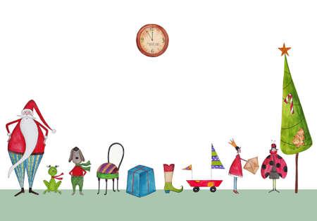 christmas frog: Christmas illustration
