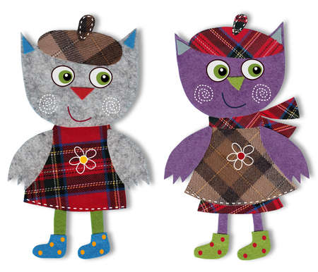 Owls, Colorful felt and wool quiltting