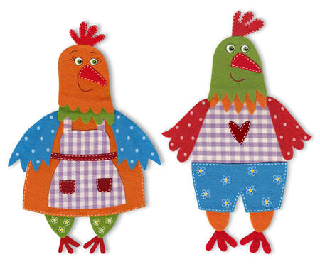 Chicken, Colorful felt and wool quiltting