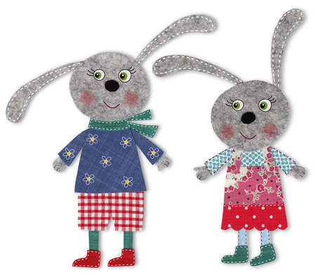 pair of bunnies cut out of felt and wool photo