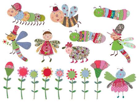 mariposa caricatura: Personajes de dibujos animados, insectos y flores