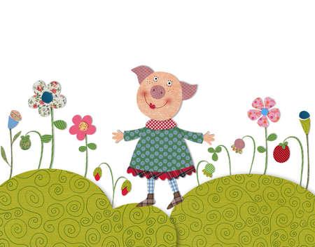 fairly: Little pig walking on flowering meadow