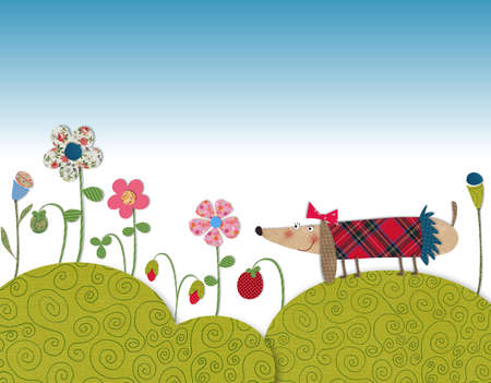 over the hill: Little dog walking on flowering meadow