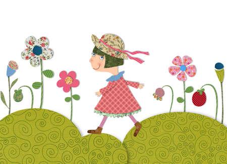 fairly: girl walking on flowering meadow
