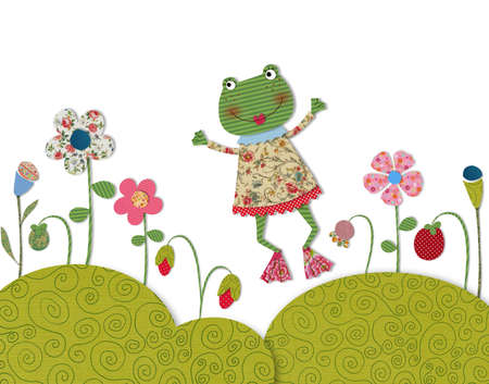 Little frog jumping on flowering meadow photo