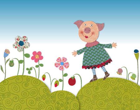 Peque�o cerdo caminar sobre pradera de floraci�n photo
