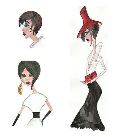 caricaturas de personas: las chicas de moda Foto de archivo