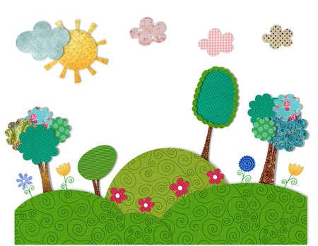 patchwork landscape: Cartoon landscape