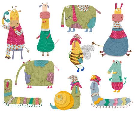 cartoon worm: Conjunto de personajes de dibujos animados Foto de archivo
