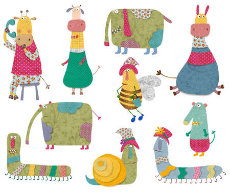 cartoon worm: Set of cartoon characters Stock Photo