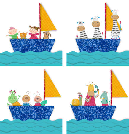funny pictures: Pets and children traveling by boat Stock Photo