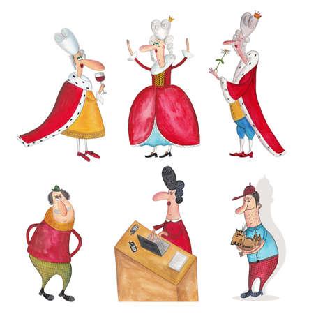Cartoon characters over white photo