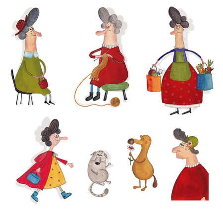 caperucita roja: Personajes de dibujos animados sobre blanco