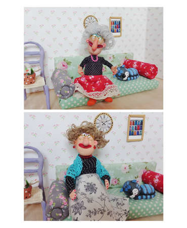 kanapa: Babcia siedzi na kanapie Zdjęcie Seryjne