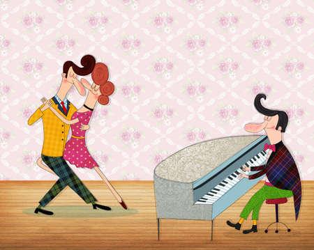 baile caricatura: Un hombre que toca el piano